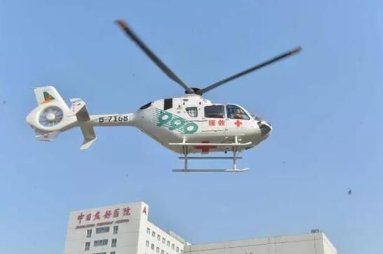 999急救中心直升飞机顺利飞抵中日医院