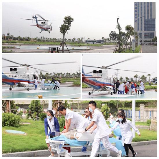 厦门大学附属翔安医院接诊首例航空救援直升机转运伤员