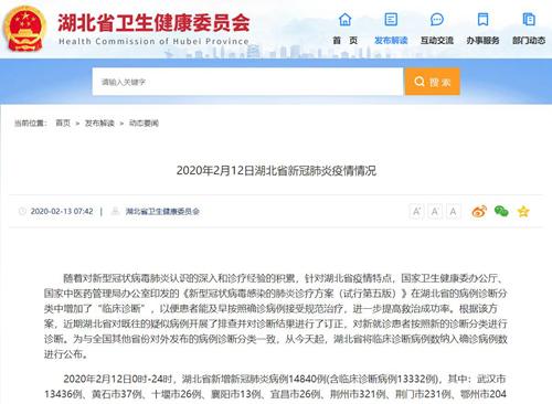 湖北省卫健委:截至12日24时新增肺炎病例14840例含临床诊断病例13332例