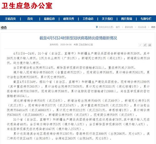 国家卫健委:4月5日0—24时新增确诊病例39例其中1例为广东本土病例