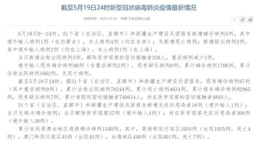 国家卫健委:5月19日新增确诊病例5例其中吉林本土病例4例