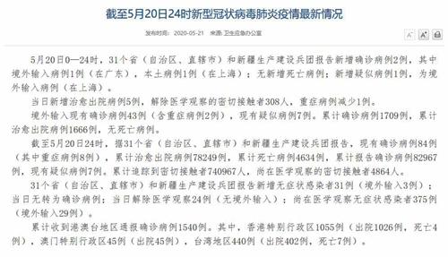 国家卫健委:5月20日新增确诊病例2例其中上海本土病例1例