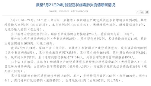国家卫健委:5月21日新增确诊病例4例本土病例2例均在吉林