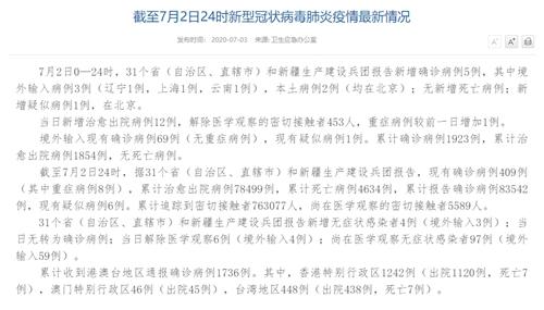 7月2日新增确诊病例5例 其中本土病例2例均在北京