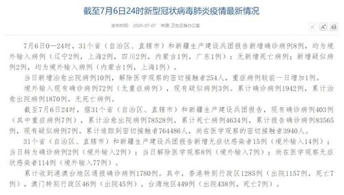 7月6日新增确诊病例8例 无新增本土病例