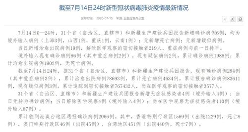 国家卫健委:7月14日新增确诊病例6例均为境外输入