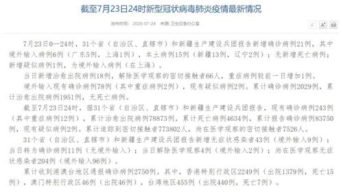 国家卫健委:7月23日新增确诊病例21例其中本土病例新