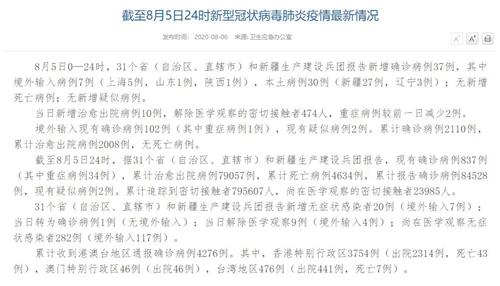 国家卫健委:8月5日新增确诊病例37例其中本土病例新疆27例、辽