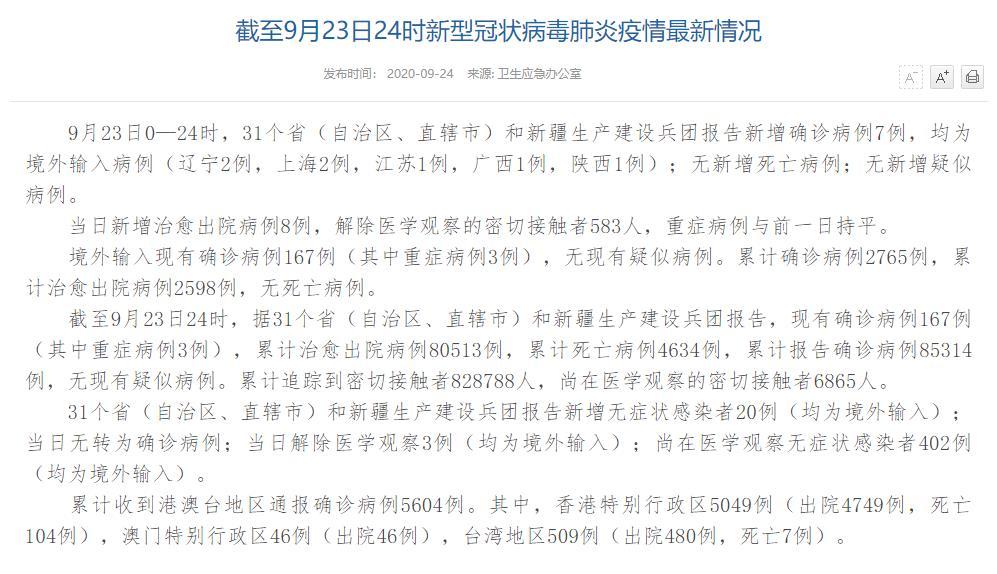 国家卫健委:9月23日新增确诊病例7例均为境外输入病例
