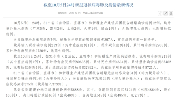 国家卫健委:10月5日新增确诊病例12例 均为境外输入病例