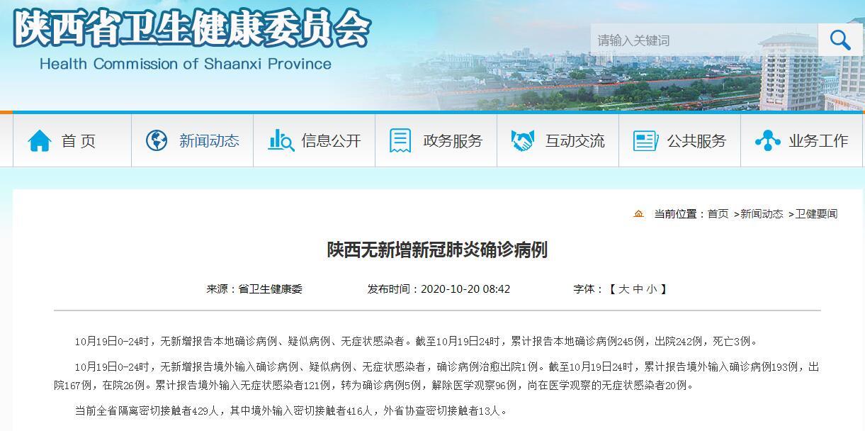 陕西无新增新冠肺炎确诊病例 当前全省隔离密切接触者429人