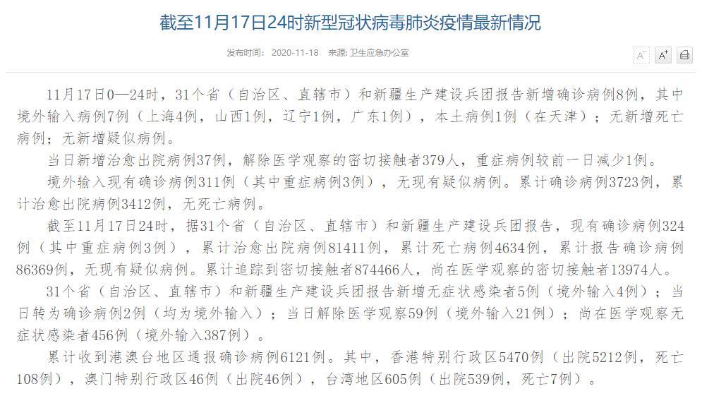 国家卫健委:11月17日新增确诊病例8例其中本土病例1例在天津