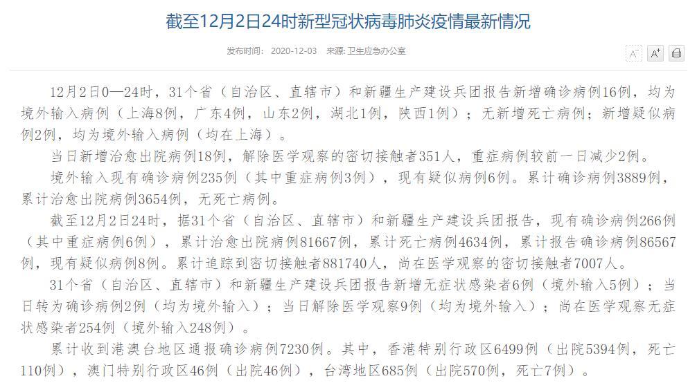12月2日新增确诊病例16例 均为境外输入病例