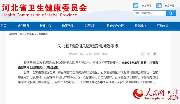2月1日起石家庄新乐市全域调整为中风险地区